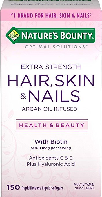 Natures Bounty Optimal Solutions Hair, Skin & Nails Extra Strength Softgels - Biotin for Hair Growth