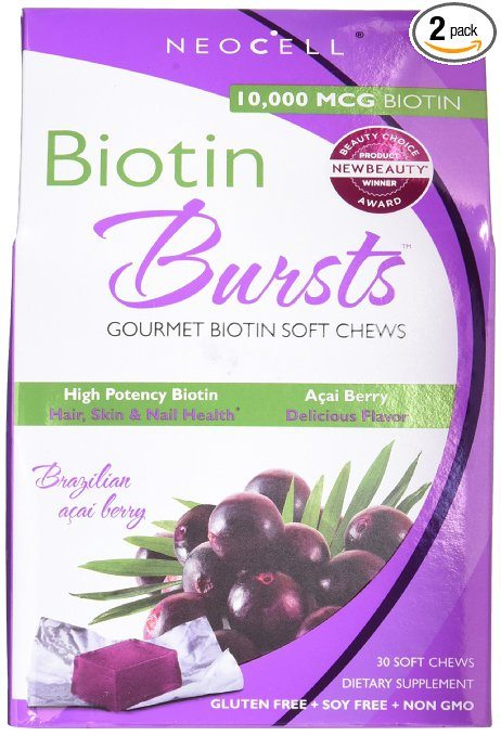 Neocell Laboratories Biotin Bursts Chewable Acai Berry Soft Chews - Biotin for Hair Growth