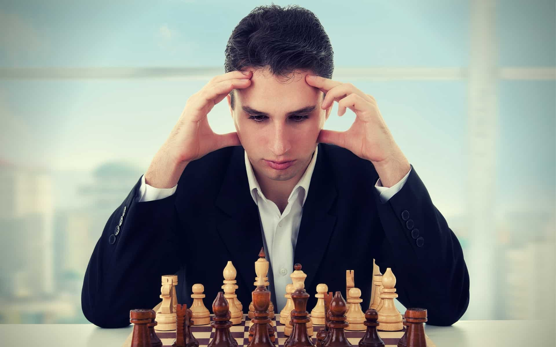 Estrogen Dominance Serious man thinks on game of chess