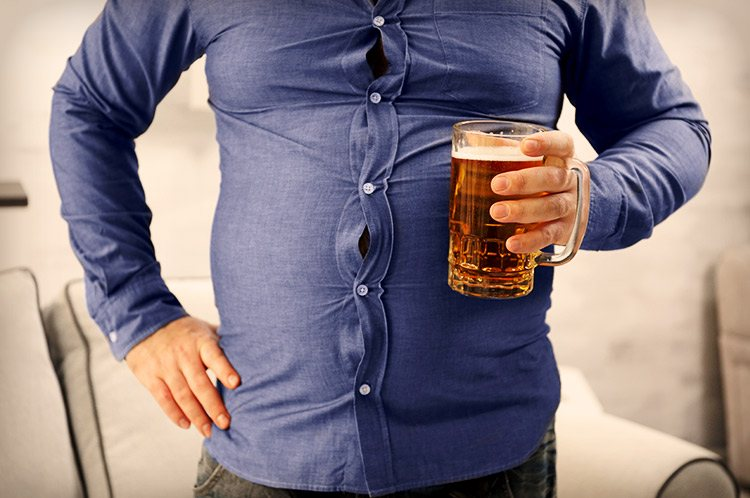 fatty man with beer