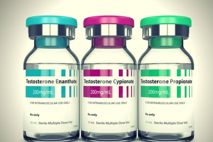 3d render of testosterone injection vials