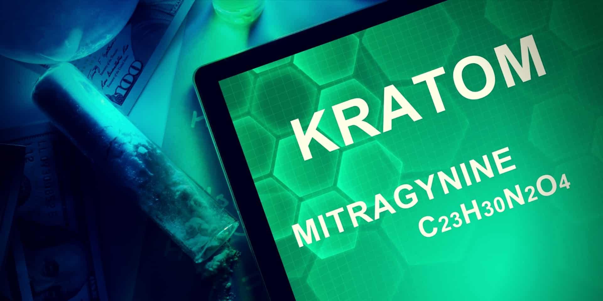 Kratom Amazon tablet with the chemical formula of Kratom (Mitragyna speciosa) Mitragynine