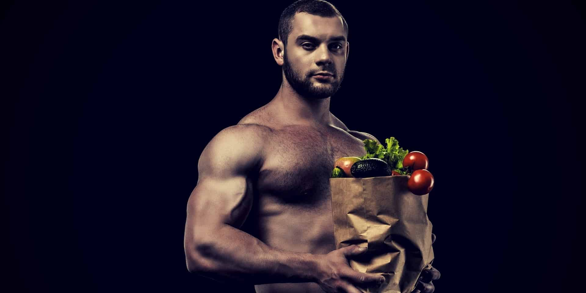 Testosterone Diet Shirtless man with healthy food