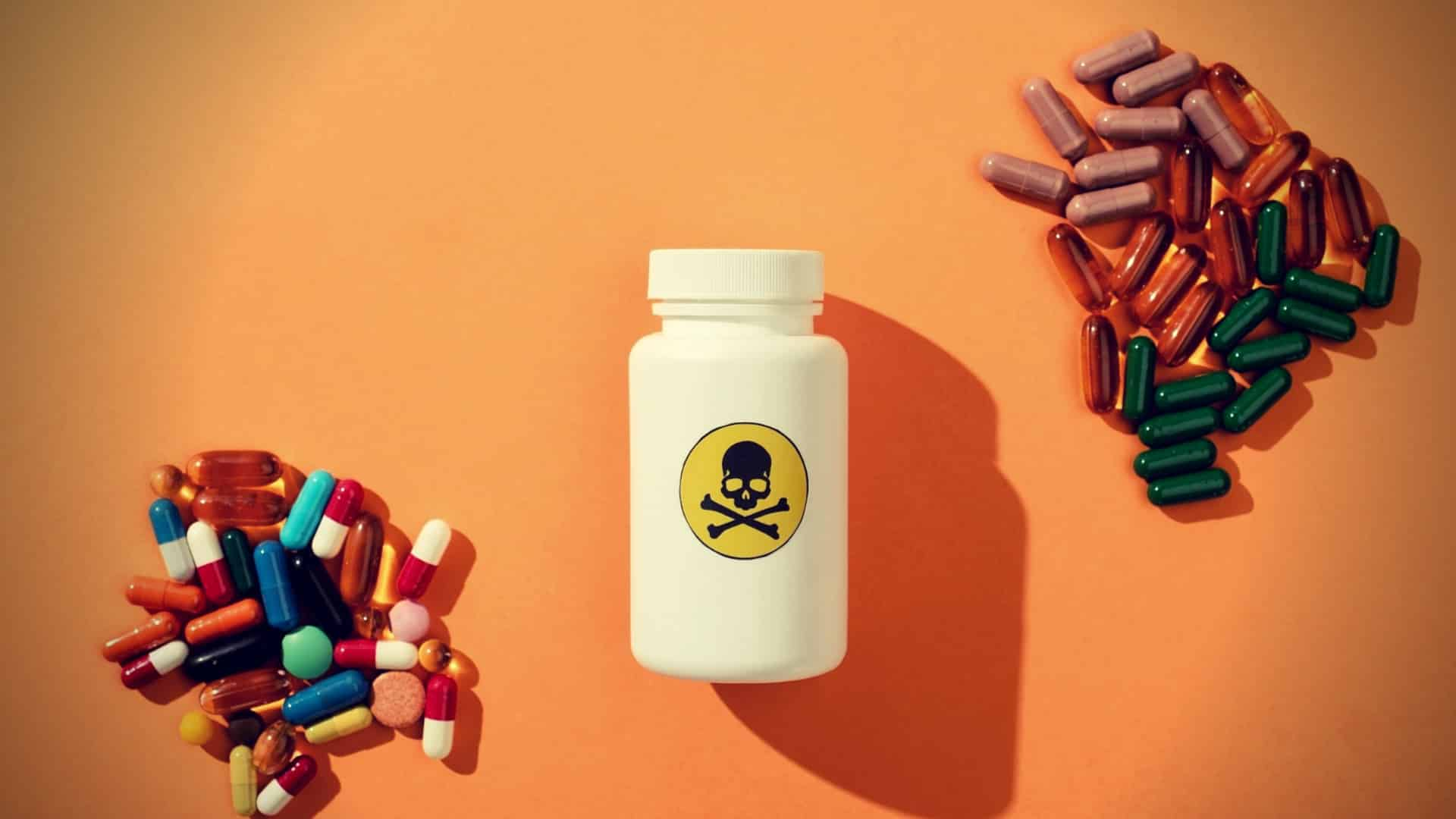 Top view of container with dangerous poison and food supplements